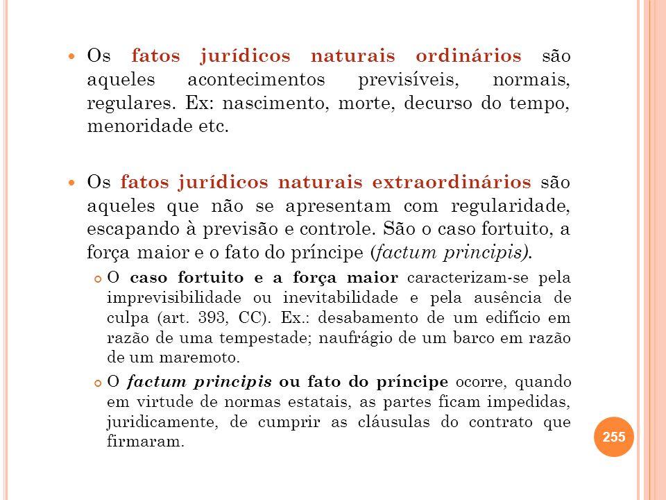 Os fatos jurídicos naturais ordinários são aqueles acontecimentos previsíveis, normais, regulares. Ex: nascimento, morte, decurso do tempo, menoridade etc.