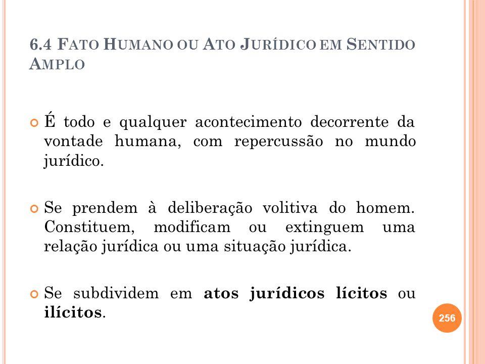 6.4 Fato Humano ou Ato Jurídico em Sentido Amplo