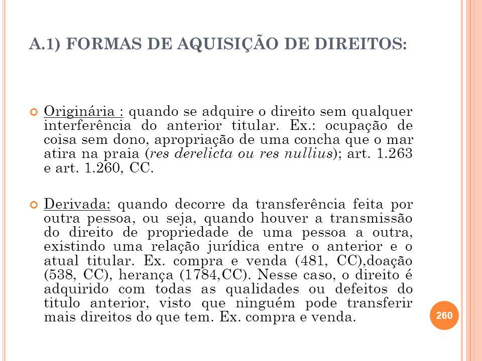 A.1) FORMAS DE AQUISIÇÃO DE DIREITOS: