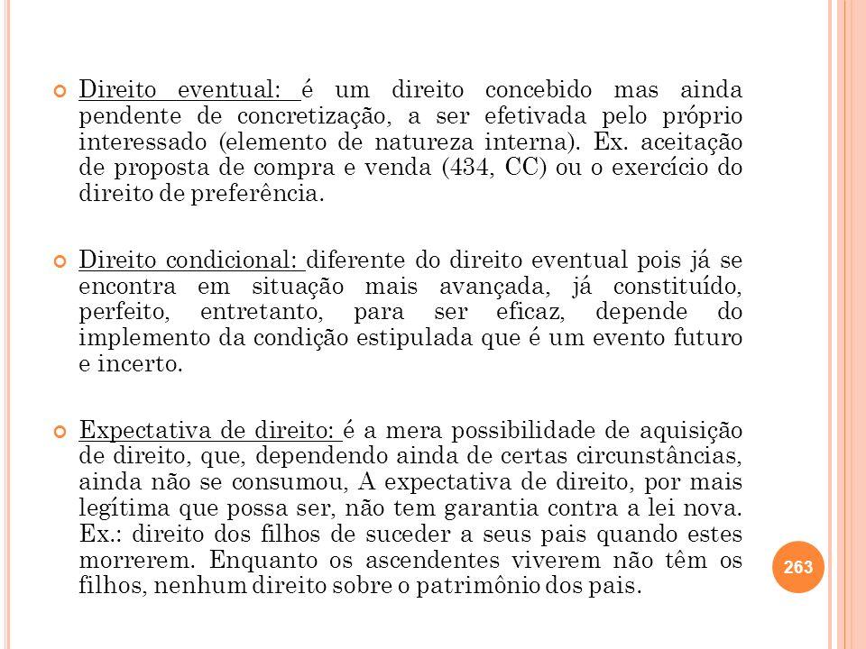 Direito eventual: é um direito concebido mas ainda pendente de concretização, a ser efetivada pelo próprio interessado (elemento de natureza interna). Ex. aceitação de proposta de compra e venda (434, CC) ou o exercício do direito de preferência.