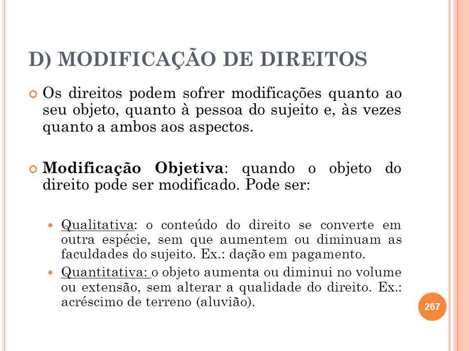 D) MODIFICAÇÃO DE DIREITOS