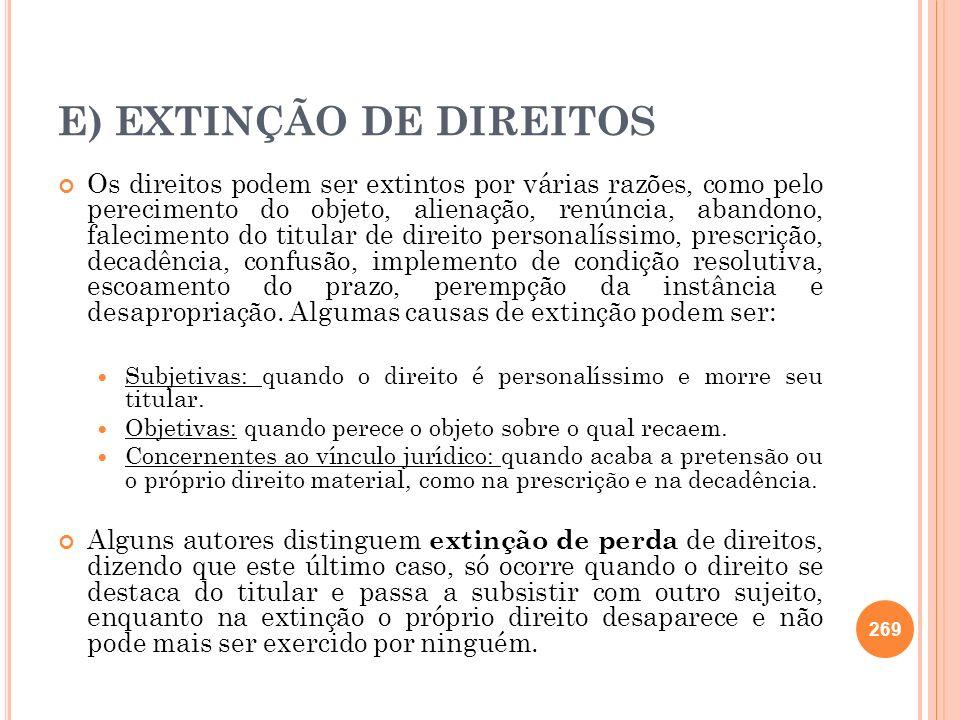 E) EXTINÇÃO DE DIREITOS