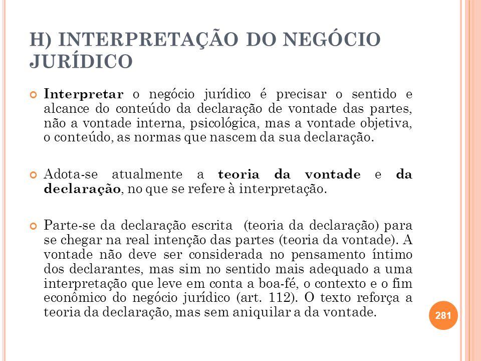 H) INTERPRETAÇÃO DO NEGÓCIO JURÍDICO