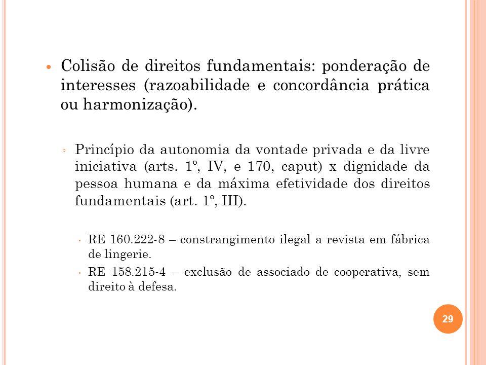 Colisão de direitos fundamentais: ponderação de interesses (razoabilidade e concordância prática ou harmonização).