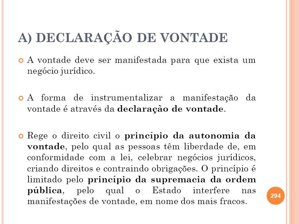 A) DECLARAÇÃO DE VONTADE