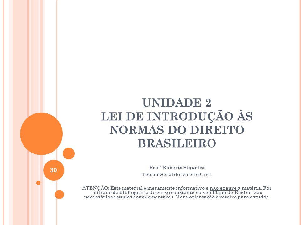 UNIDADE 2 LEI DE INTRODUÇÃO ÀS NORMAS DO DIREITO BRASILEIRO
