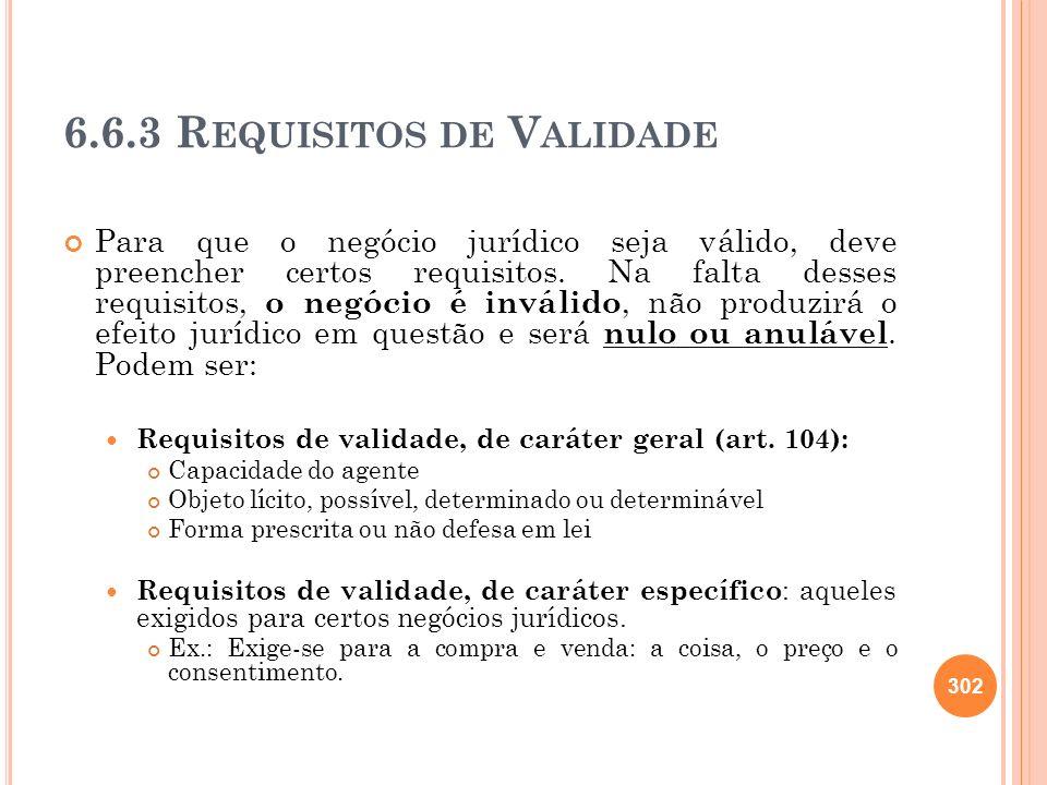 6.6.3 Requisitos de Validade