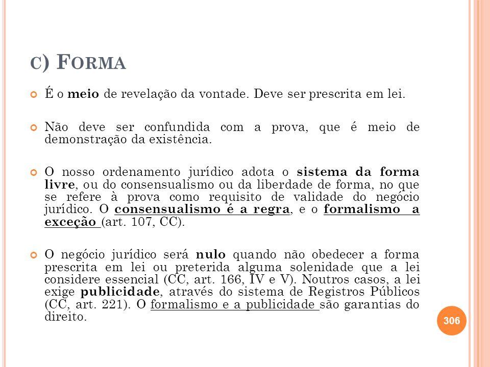 c) Forma É o meio de revelação da vontade. Deve ser prescrita em lei.