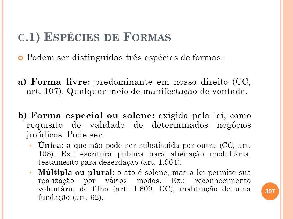 c.1) Espécies de Formas Podem ser distinguidas três espécies de formas: