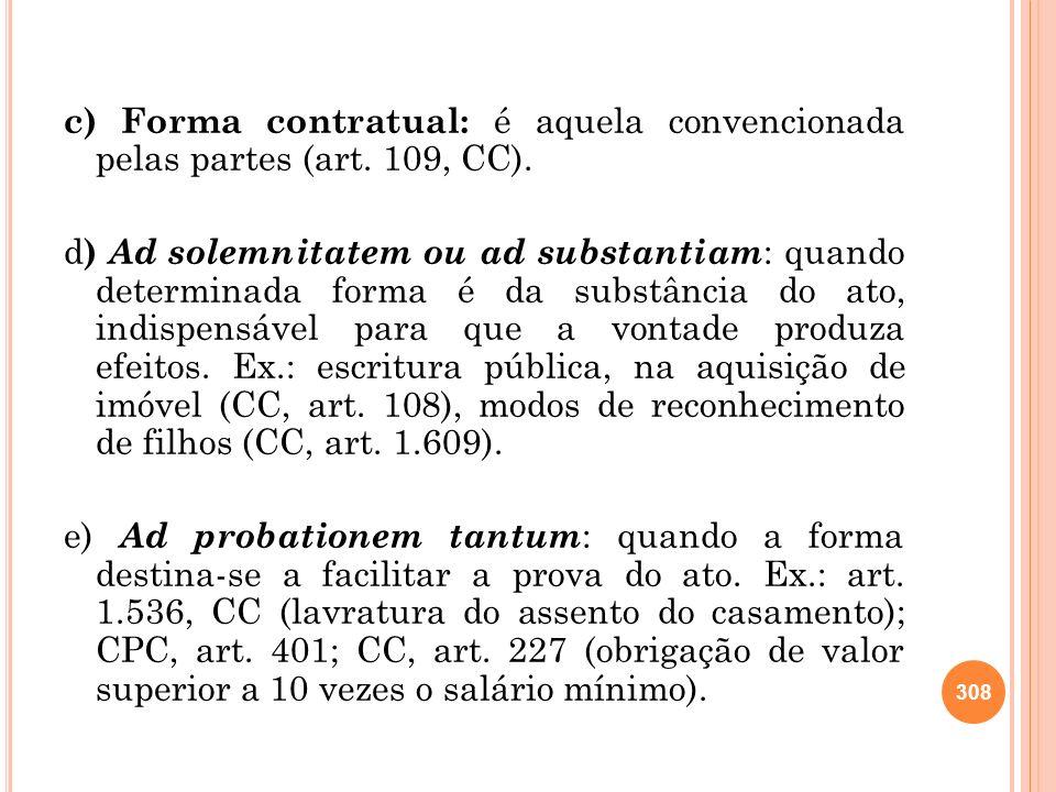 c) Forma contratual: é aquela convencionada pelas partes (art.