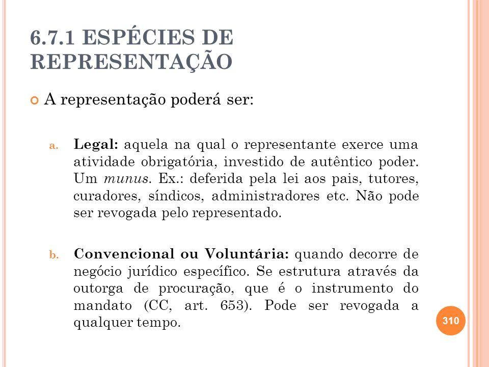 6.7.1 ESPÉCIES DE REPRESENTAÇÃO
