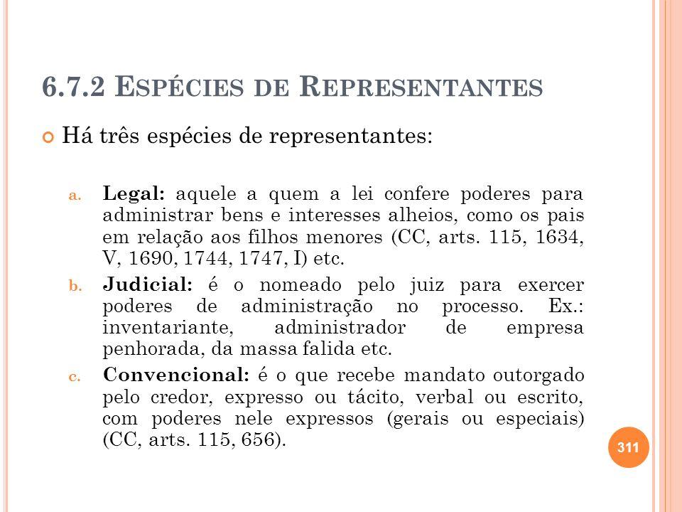 6.7.2 Espécies de Representantes