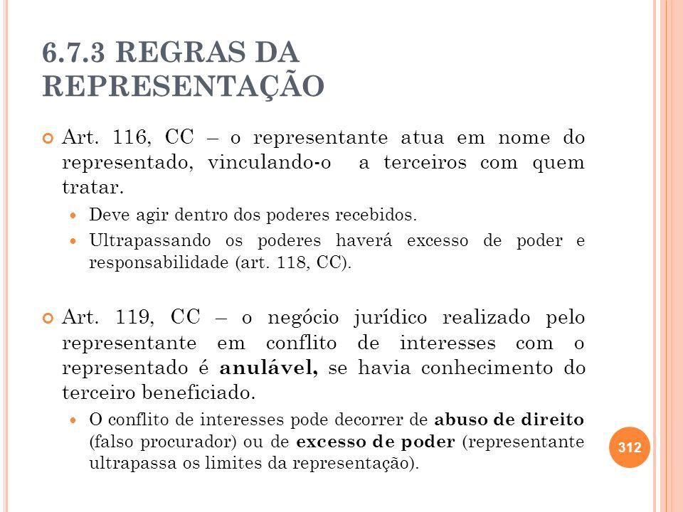 6.7.3 REGRAS DA REPRESENTAÇÃO