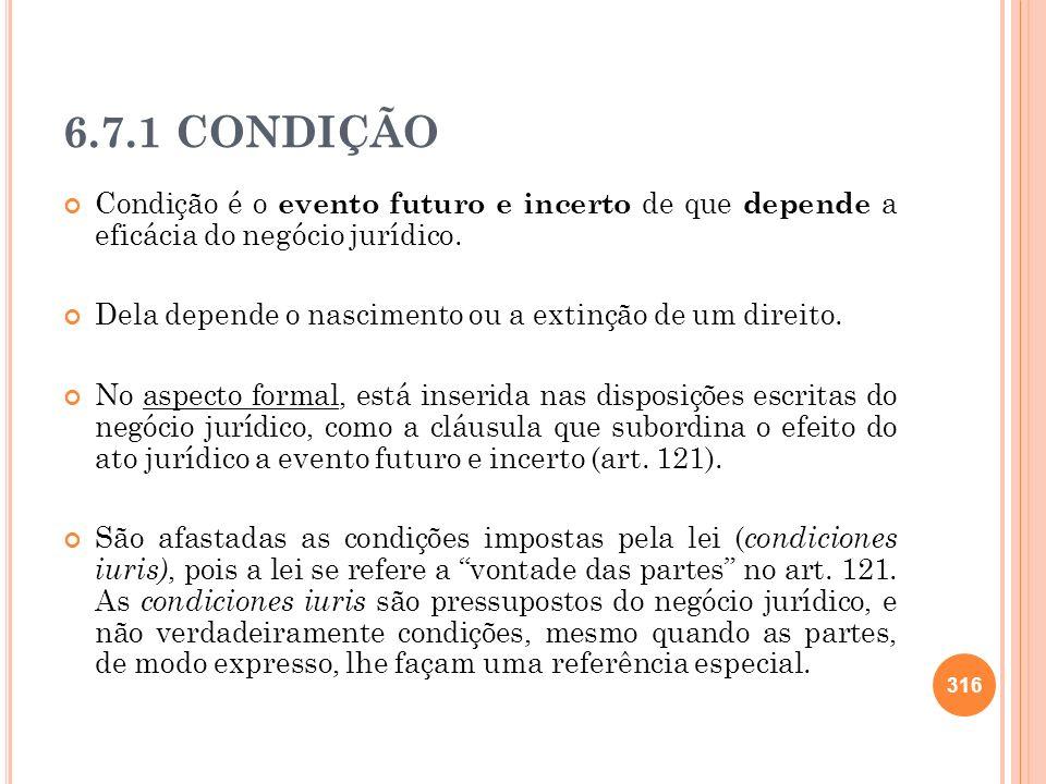 6.7.1 CONDIÇÃOCondição é o evento futuro e incerto de que depende a eficácia do negócio jurídico.