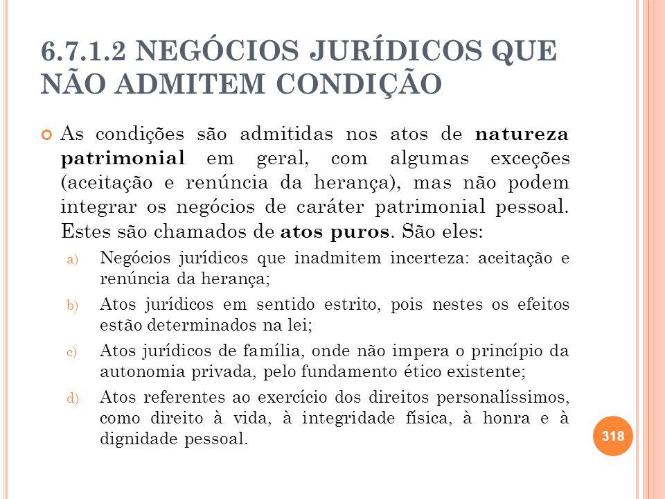 6.7.1.2 NEGÓCIOS JURÍDICOS QUE NÃO ADMITEM CONDIÇÃO