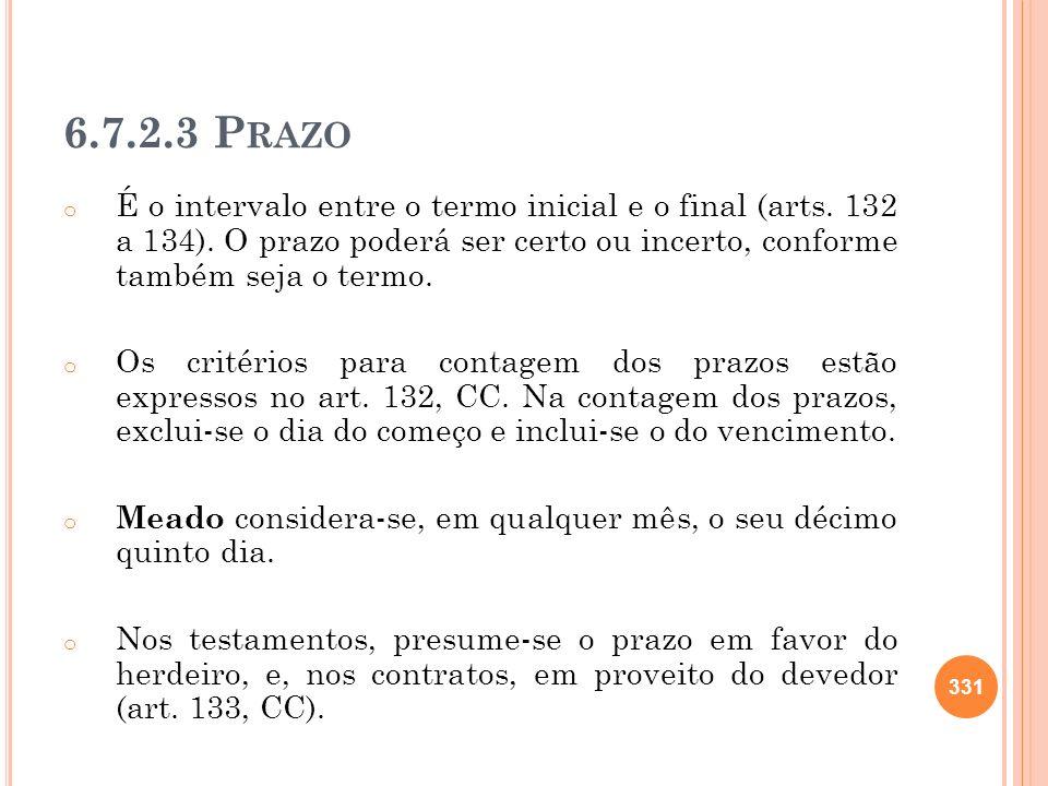 6.7.2.3 Prazo É o intervalo entre o termo inicial e o final (arts. 132 a 134). O prazo poderá ser certo ou incerto, conforme também seja o termo.