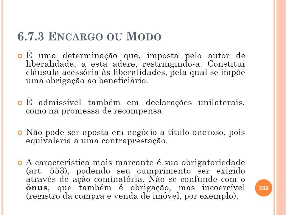 6.7.3 Encargo ou Modo
