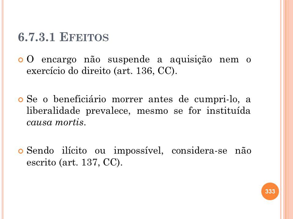 6.7.3.1 Efeitos O encargo não suspende a aquisição nem o exercício do direito (art. 136, CC).