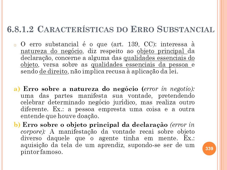 Características do Erro Substancial