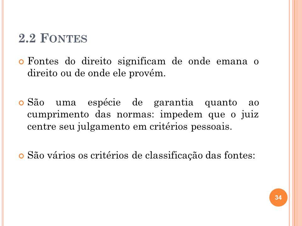 2.2 FontesFontes do direito significam de onde emana o direito ou de onde ele provém.