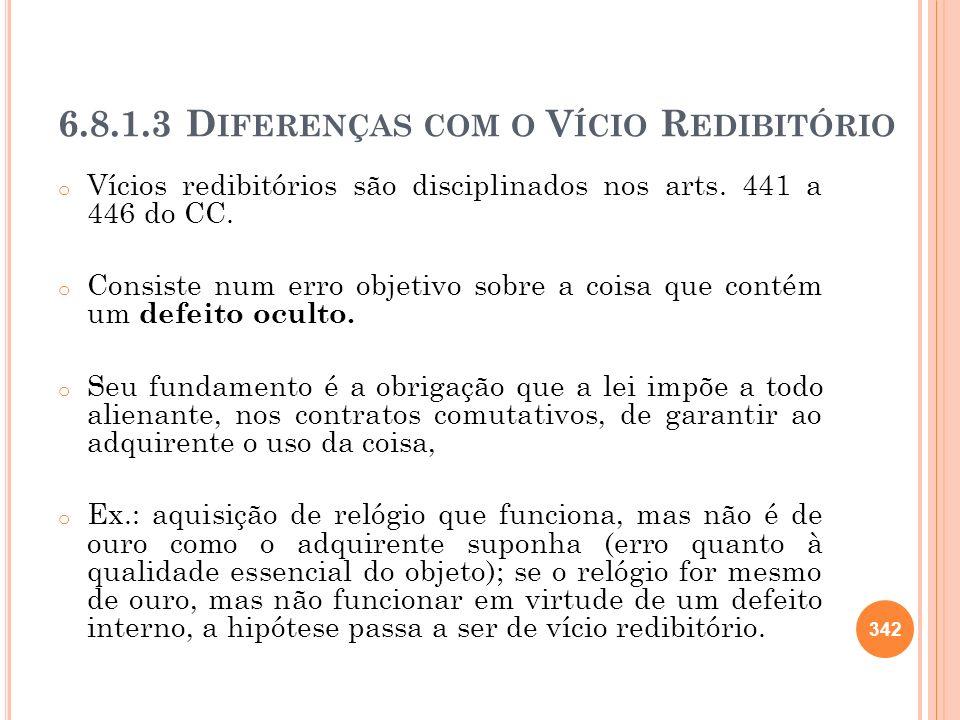 6.8.1.3 Diferenças com o Vício Redibitório