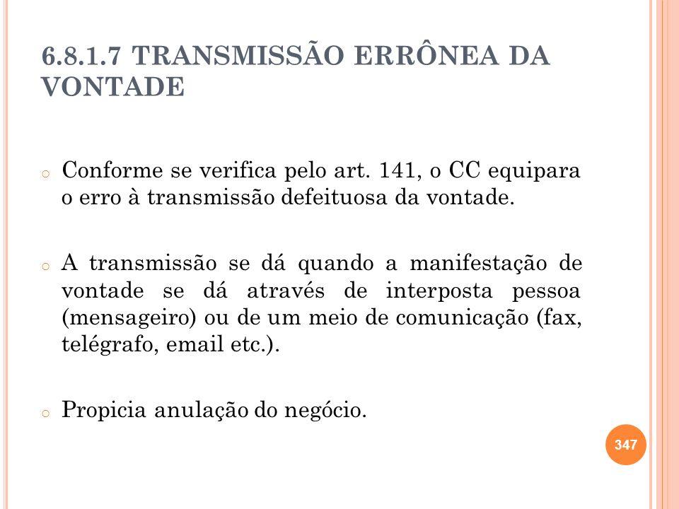 6.8.1.7 TRANSMISSÃO ERRÔNEA DA VONTADE