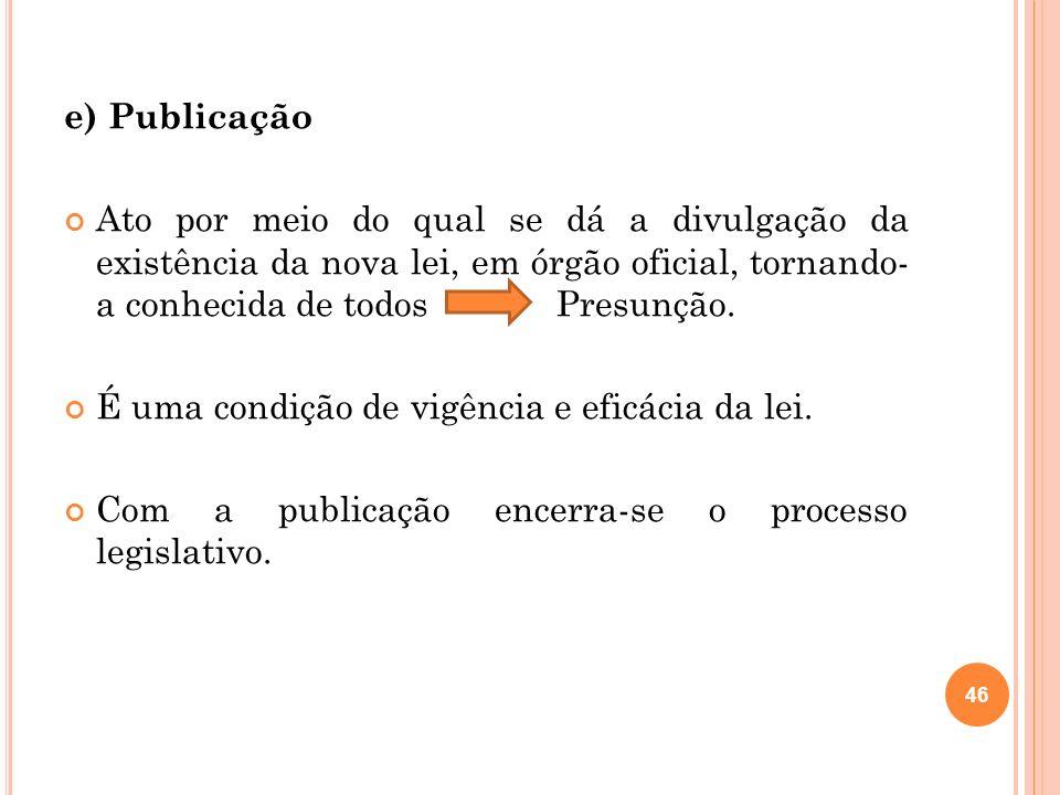 e) Publicação