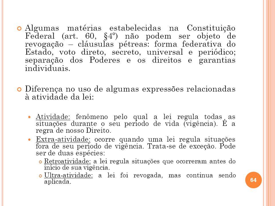 Algumas matérias estabelecidas na Constituição Federal (art