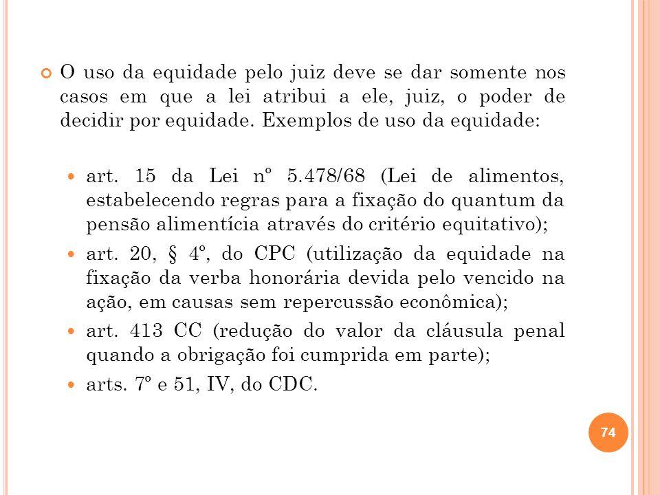 O uso da equidade pelo juiz deve se dar somente nos casos em que a lei atribui a ele, juiz, o poder de decidir por equidade. Exemplos de uso da equidade: