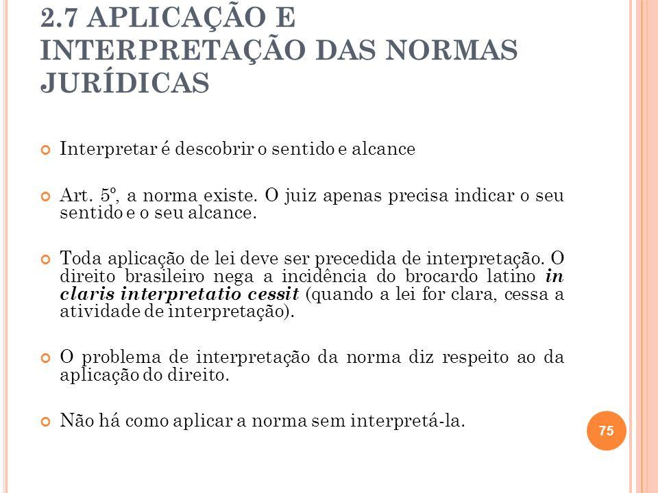2.7 APLICAÇÃO E INTERPRETAÇÃO DAS NORMAS JURÍDICAS