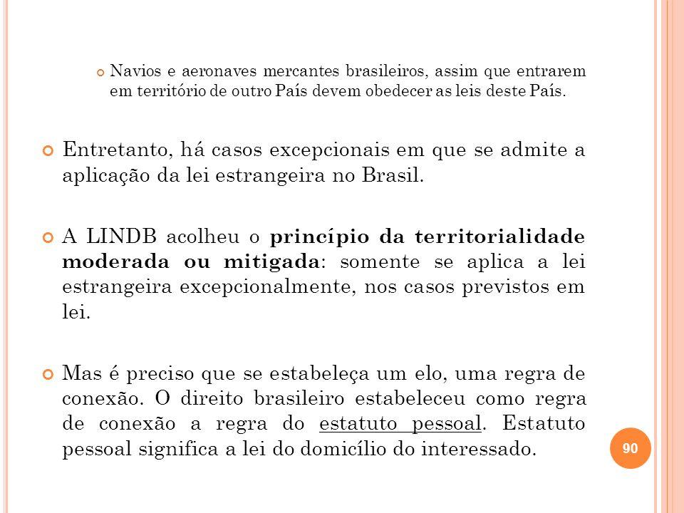 Navios e aeronaves mercantes brasileiros, assim que entrarem em território de outro País devem obedecer as leis deste País.