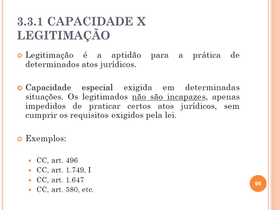 3.3.1 CAPACIDADE X LEGITIMAÇÃO