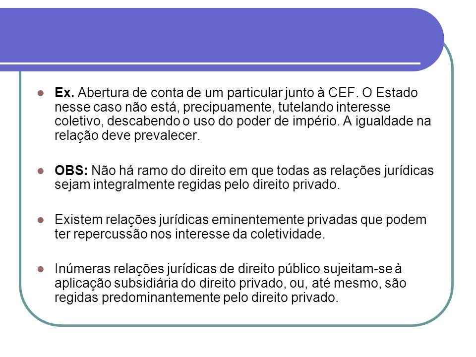 Ex. Abertura de conta de um particular junto à CEF