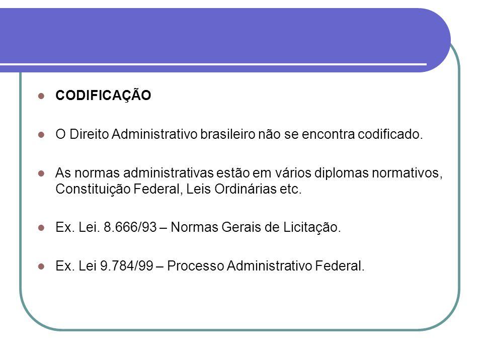 CODIFICAÇÃO O Direito Administrativo brasileiro não se encontra codificado.