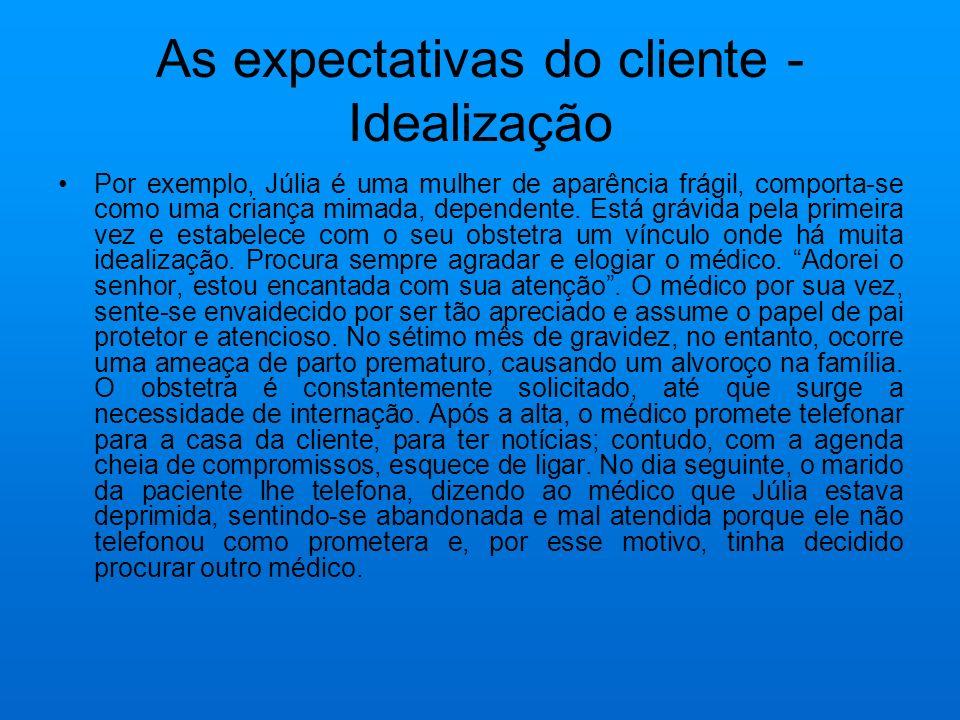 As expectativas do cliente - Idealização