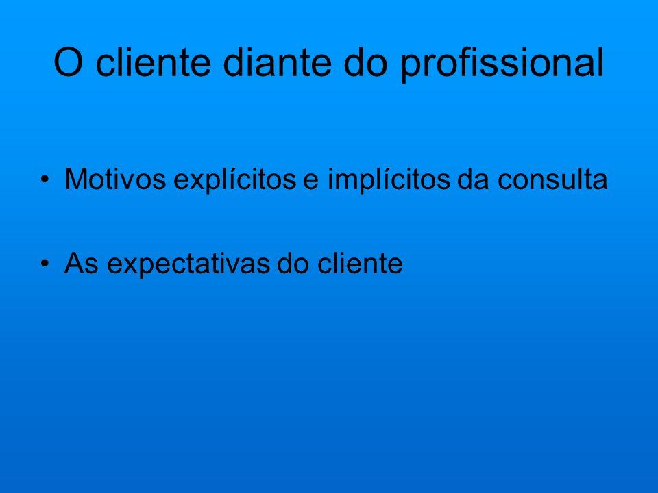 O cliente diante do profissional
