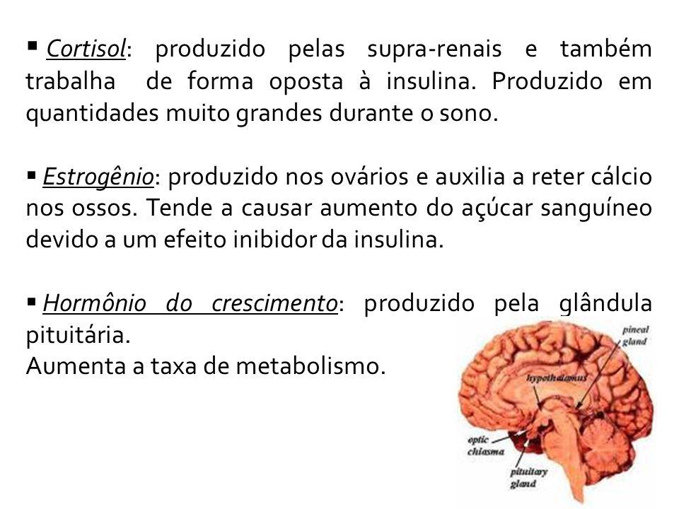 Cortisol: produzido pelas supra-renais e também trabalha de forma oposta à insulina. Produzido em quantidades muito grandes durante o sono.