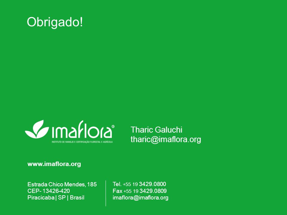 Obrigado! Tharic Galuchi tharic@imaflora.org www.imaflora.org