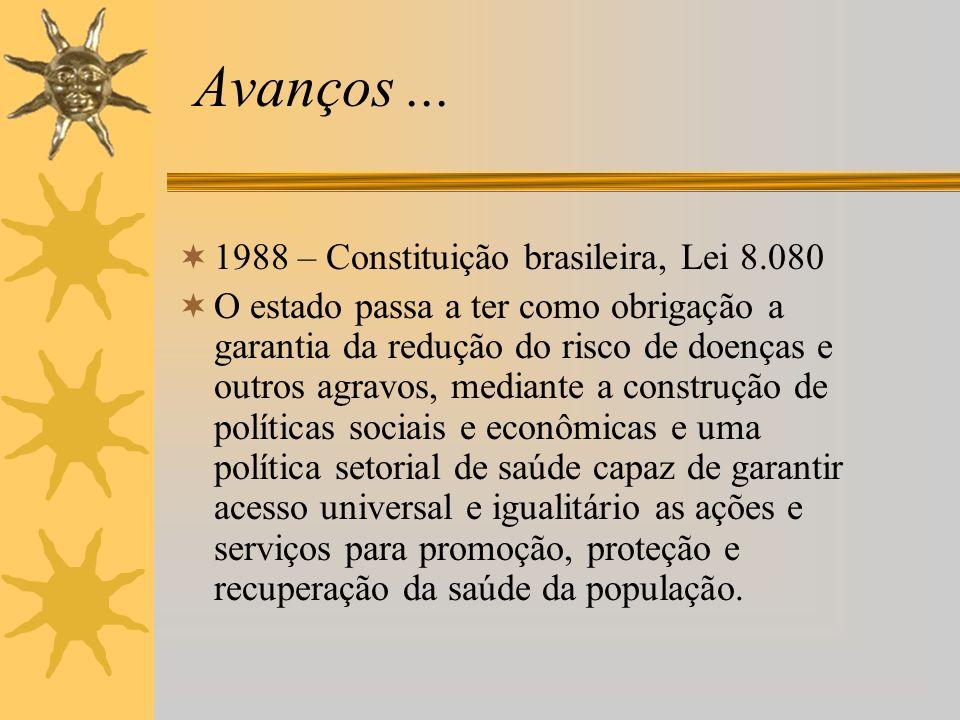 Avanços ... 1988 – Constituição brasileira, Lei 8.080
