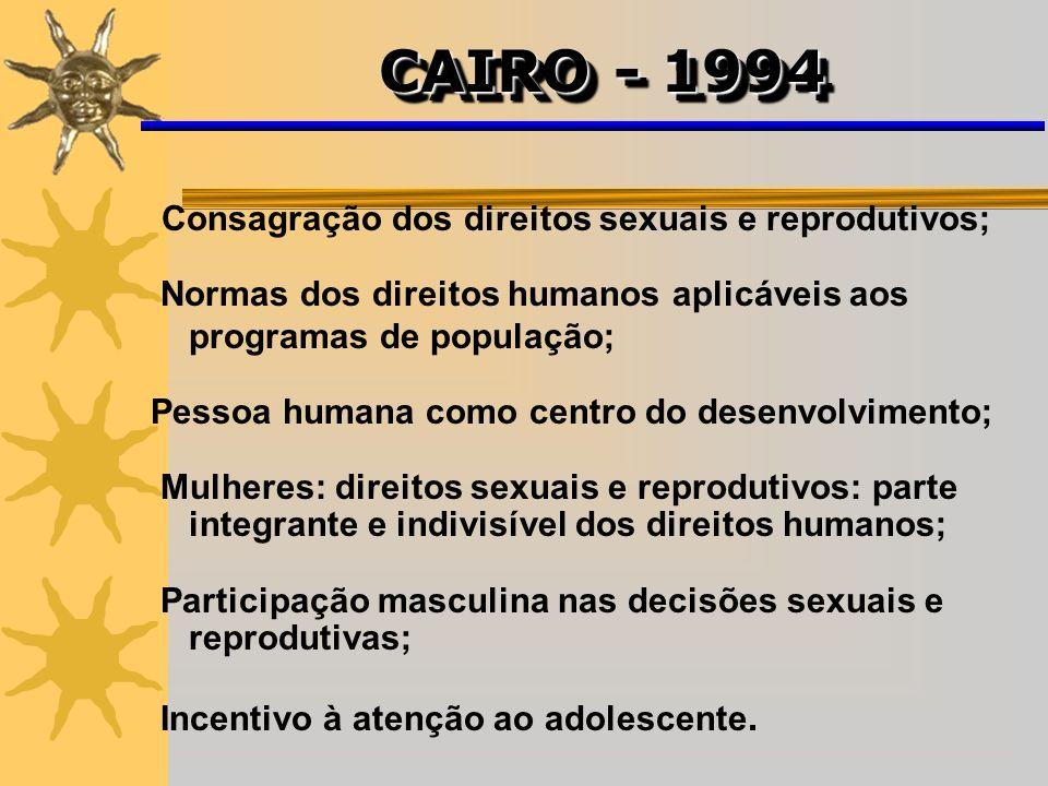 CAIRO - 1994 Consagração dos direitos sexuais e reprodutivos;