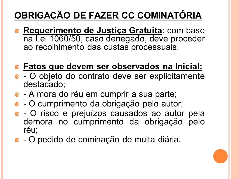OBRIGAÇÃO DE FAZER CC COMINATÓRIA