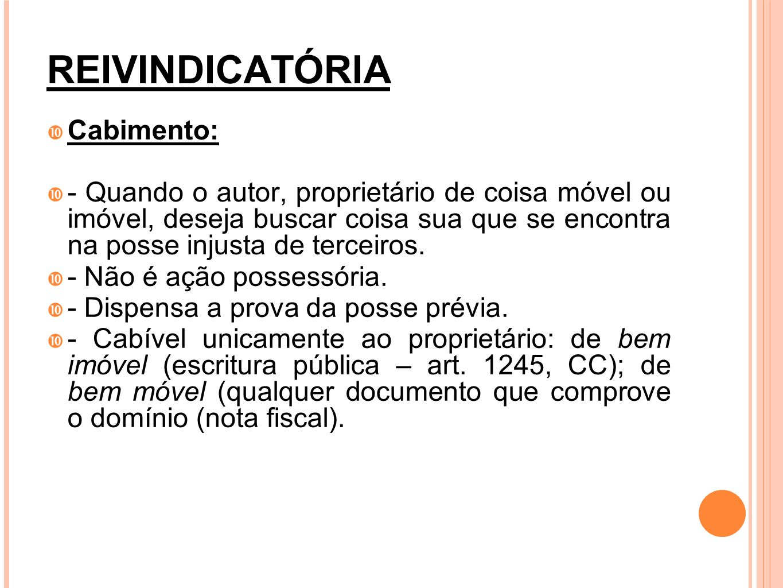 REIVINDICATÓRIA Cabimento: