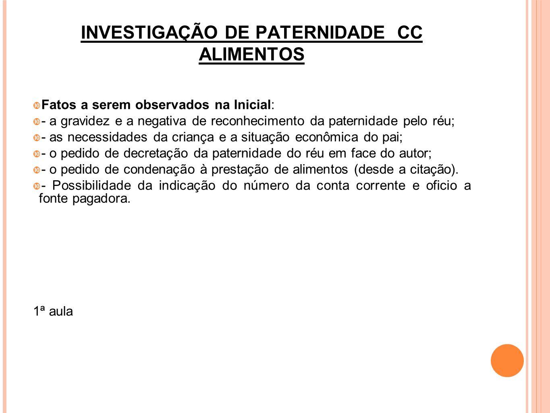 INVESTIGAÇÃO DE PATERNIDADE CC ALIMENTOS