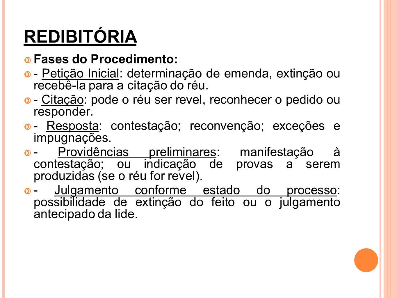 REDIBITÓRIA Fases do Procedimento: