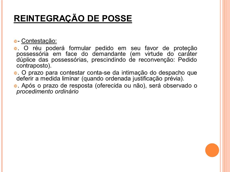 REINTEGRAÇÃO DE POSSE - Contestação: