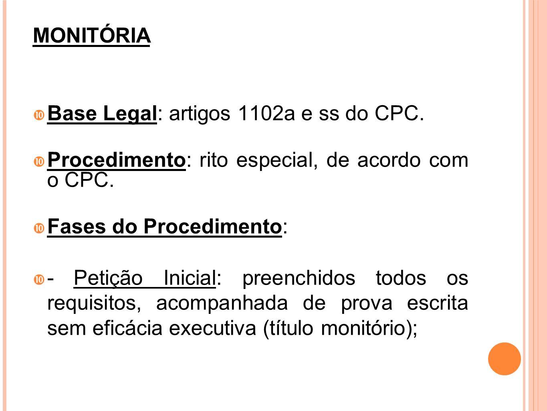 MONITÓRIABase Legal: artigos 1102a e ss do CPC. Procedimento: rito especial, de acordo com o CPC. Fases do Procedimento: