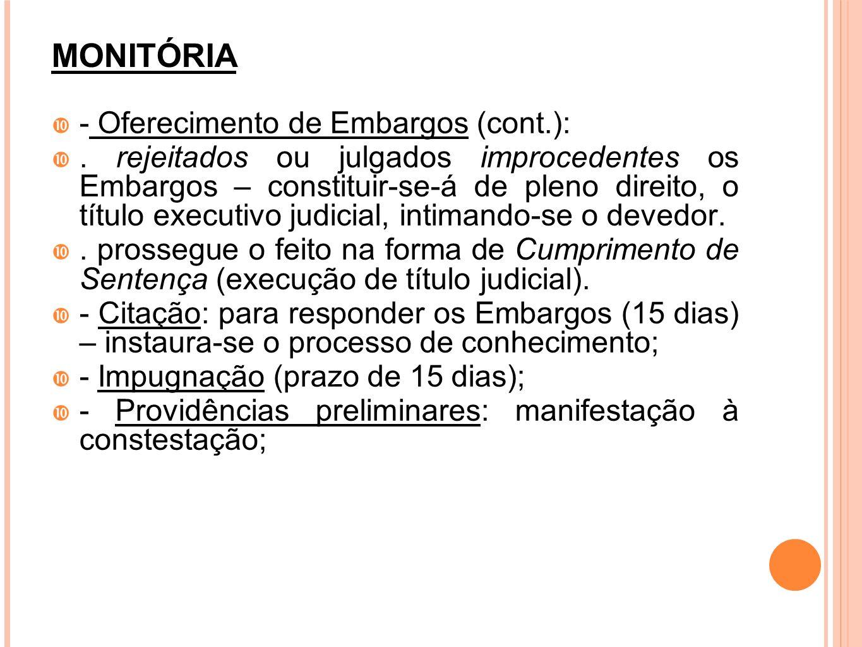 MONITÓRIA - Oferecimento de Embargos (cont.):