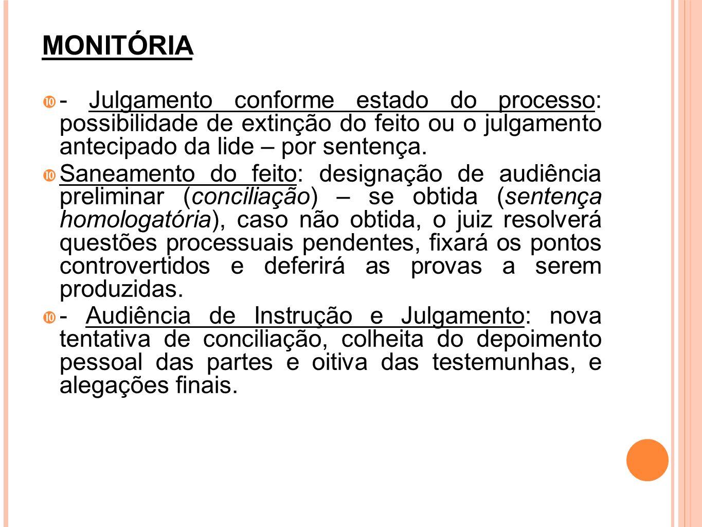 MONITÓRIA- Julgamento conforme estado do processo: possibilidade de extinção do feito ou o julgamento antecipado da lide – por sentença.