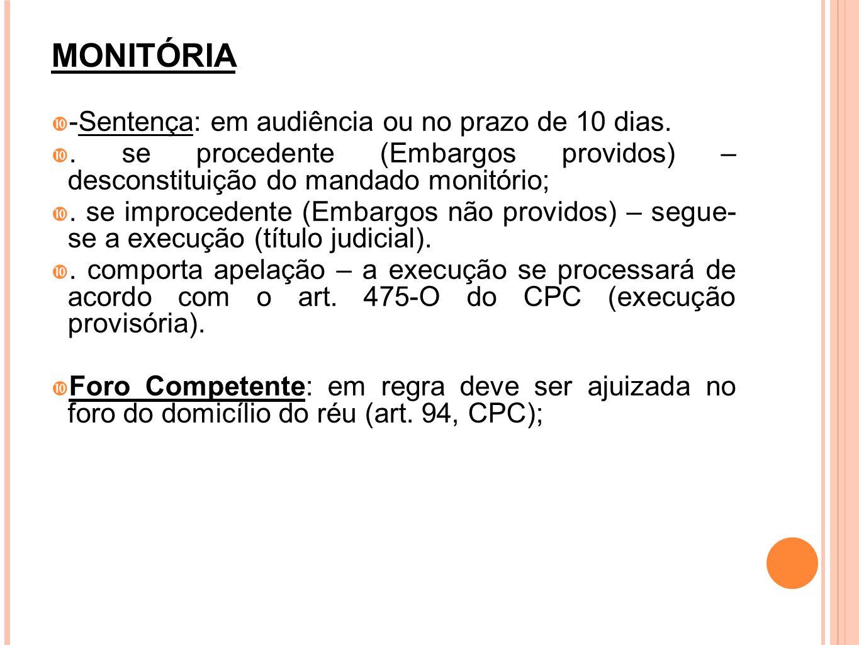 MONITÓRIA -Sentença: em audiência ou no prazo de 10 dias.