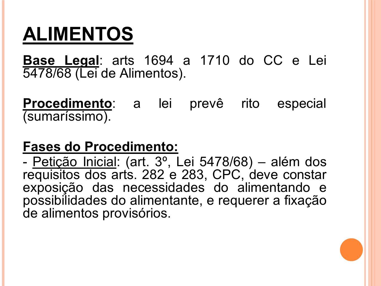 ALIMENTOS Base Legal: arts 1694 a 1710 do CC e Lei 5478/68 (Lei de Alimentos). Procedimento: a lei prevê rito especial (sumaríssimo).